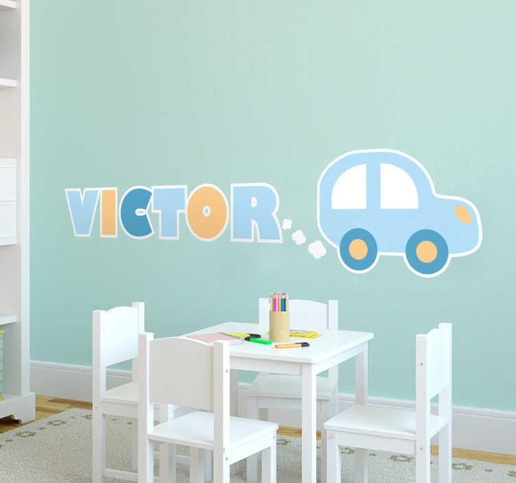 TenVinilo. Vinil para bebés personalizable auto. Vinilos infantiles con el dibujo de un coche de juguete, el nombre de la ilustración lo puedes personalizar indicándonos el de tu hijo.