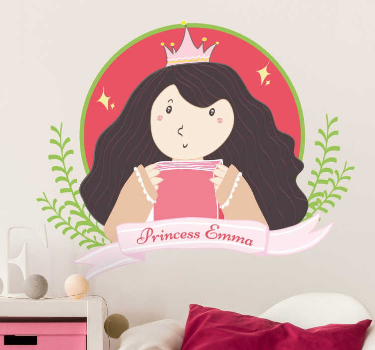 """TenStickers. Personalisierbares Wandtattoo Prinzessin. Das personalisierbare Wandtattoo illustriert ein Mädchen mit einer Krone. Der Name Ihres Kindes findet neben der Aufschrift """"princess"""" Platz."""