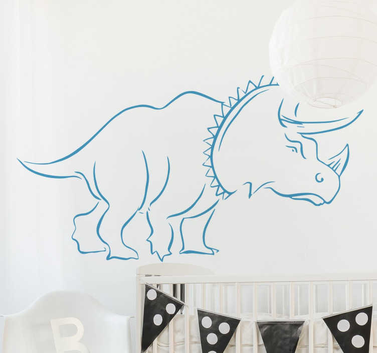 TenStickers. Triceratops Dinosaur Wall Sticker. A great dinosaur wall sticker with the outline of the Triceratops. Ideal for decorating kids dinosaur themed bedrooms.