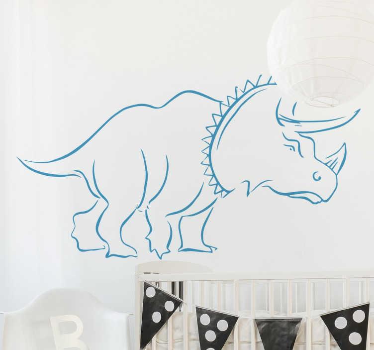 TenStickers. Wandtattoo Triceratops. Dekoratives Wandtattoo eines Dinos für das Zimmer Ihres Kindes. Das Wandtattoo stellt die Dinoart Triceratops dar.