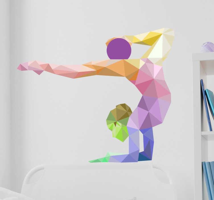 TenStickers. Vinil decorativo ginasta origami. Autocolante desportivo com um bonito geométrico de uma jovem a fazer exercício de ginástica rítmica.