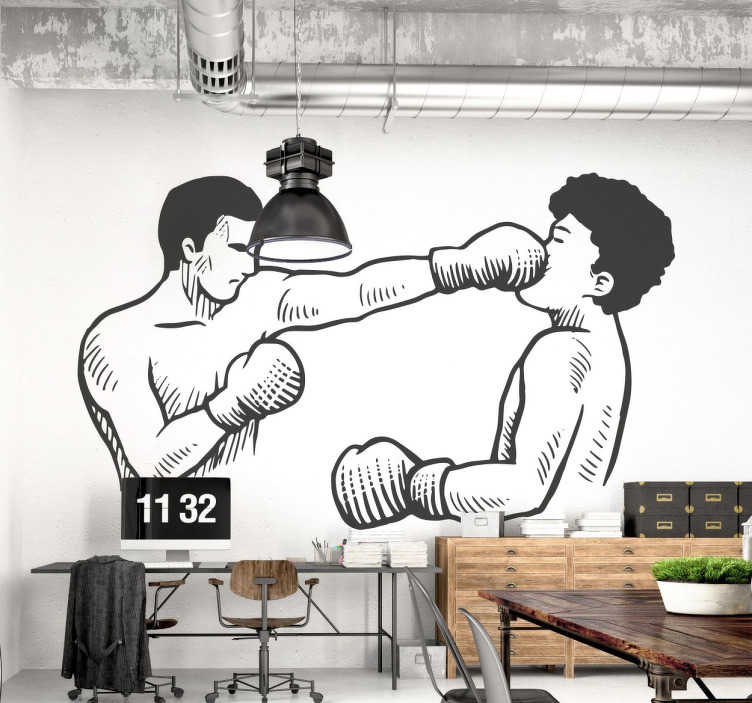 TenStickers. Boxing Punch Wall Sticker. From our collection of sports wall stickers, a design with an illustration of two boxers fighting together.