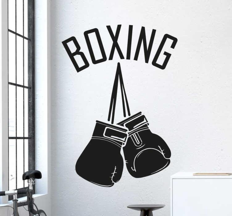TenStickers. 권투 장갑 벽 데칼. 권투 벽 스티커 - 권투의 팬이면,이 권투 장갑 데칼은 당신을 위해해야합니다. 권투 체육관에 완벽한 스포츠 스티커.