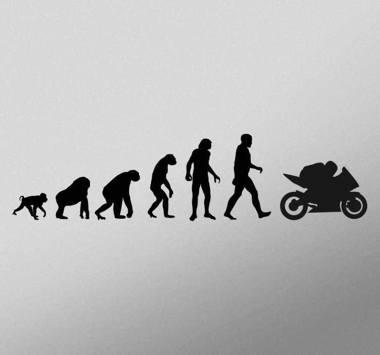 Tenstickers. Biker evolution klistremerke. En morsom silhuettveggmaler som viser utviklingen fra ape til mannen, til mann på en motorsykkel! Ideell for folk som elsker motorsykling.