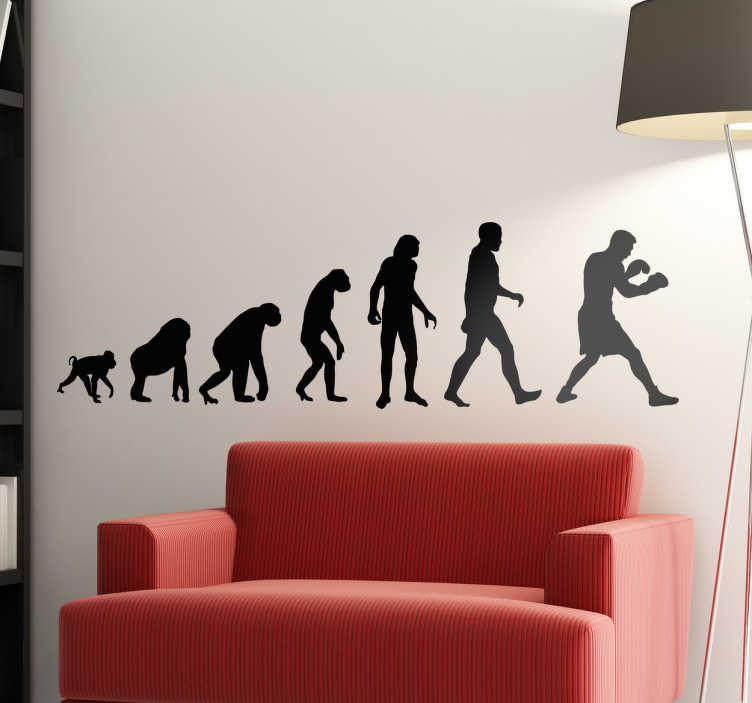 TenStickers. Boxer Evolution Wall Sticker. A fun wall sticker showing the evolution from ape to man and man to boxer!