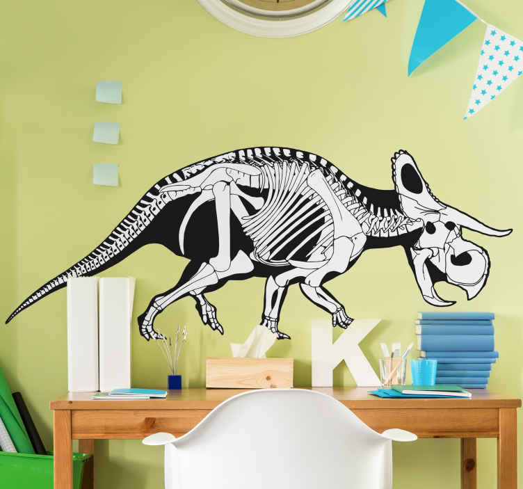 TenStickers. Wandtattoo Skelett Triceratops. Dekoratives Wandtattoo eines Dinos für das Zimmer Ihres Kindes. Das Wandtattoo stellt das Skelett der Dinoart Triceratops dar.