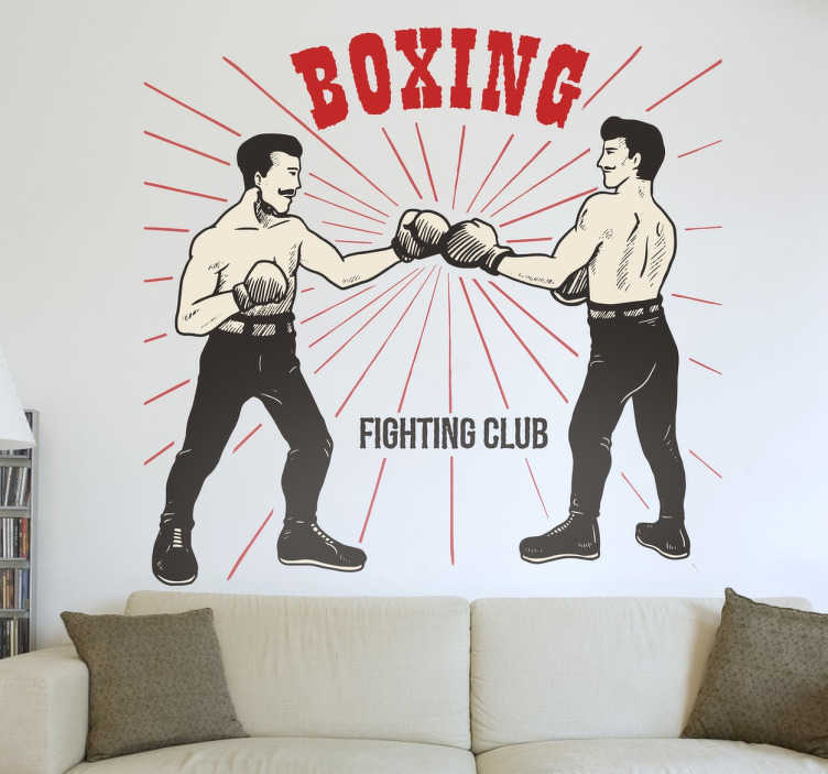 TenStickers. Old School Boxing Wall Decal. From our collection of sports stickers, a boxing wall decal with an old-school vintage style.