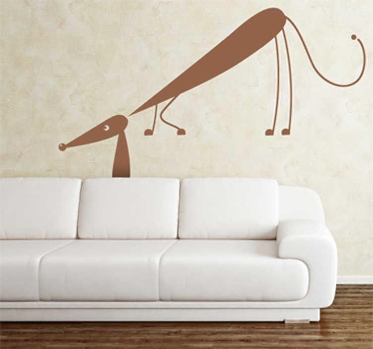 TenVinilo. Vinilo decorativo perro astuto. Pegatina decorativa de pared representada por un simpático perro salchicha olfateando algún rico manjar.