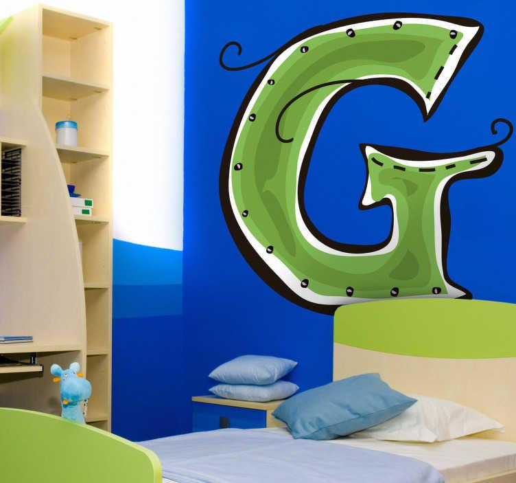 TenStickers. Sticker enfant dessin lettre g. Stickers enfant dessin lettre G pour la décoration de la chambre d'enfant ou pour la personnalisation d'affaires personnelles.Super idée déco surtout si le prénom de votre enfant commence par la lettre G.
