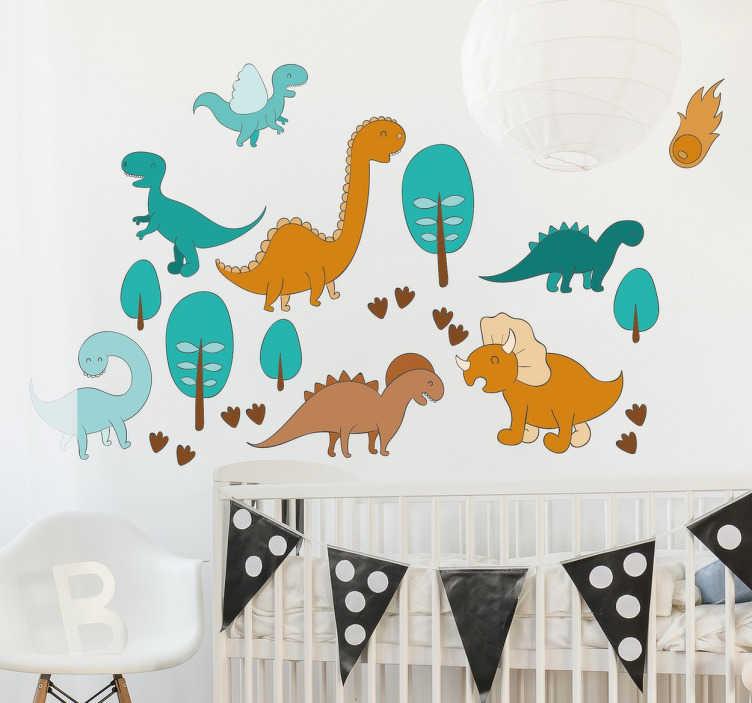 Tenstickers. Dinosaurie parkvägg klistermärke. Ett fantastiskt väggdekal av flera tecknade dinosaurier tillsammans i ett färgglatt landskap. Perfekt för att dekorera dinosaurie-barnrum.