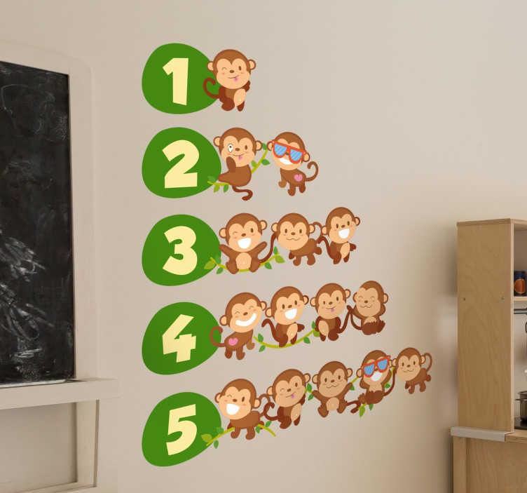 TenStickers. Adesivo per bambini numeri da uno a cinque. Adesivi murali per bambini dei primi cinque numeri accompagnati da una serie di scimpanzé molti divertenti.