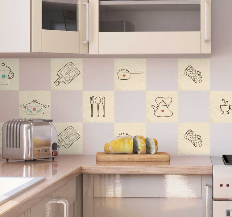 TenStickers. Kitchen Items Border Sticker. From our range of kitchen decals, a border sticker with with various kitchen related items with simple designs, including cutlery, cups and a kettle.