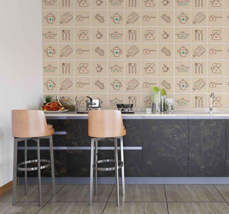TenVinilo. Sticker cenefa cubiertos para cocina. Vinilo cenefa de cocina con varios cuadrados que incorporan cada uno un utensilio distinto.