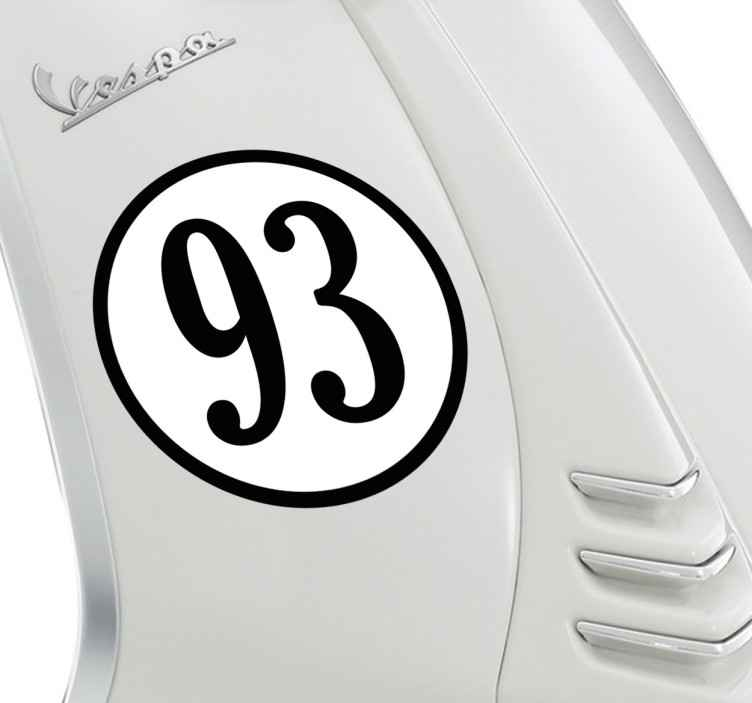 TenVinilo. Pegatinas personalizadas número moto. Vinilos personalizables estilo retro ideales para decorar el chasis de tu vehículo habitual con el número que prefieras.
