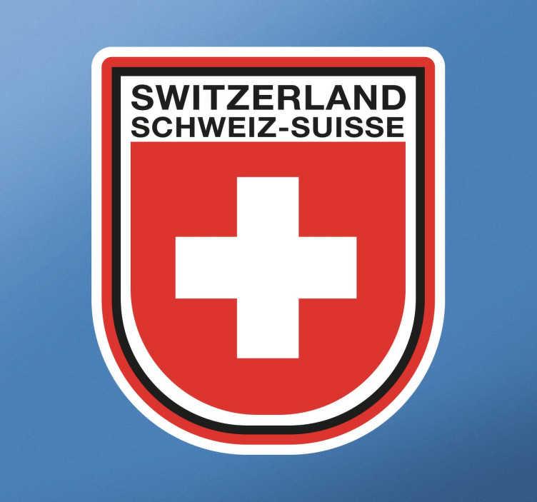 TenStickers. Aufkleber Switzerland. Dekorativer Aufkleber mit der Flagge der Schweiz und dem englischen, deutschen und französischen Namen der Schweiz.