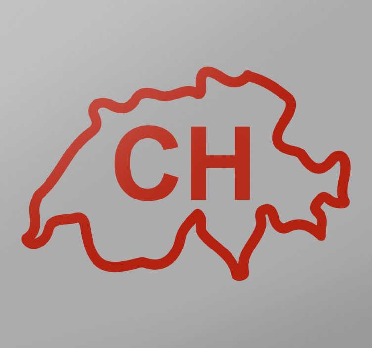TenStickers. Wandtattoo Silhouette Schweiz. Dekorativer Aufkleber für Ihr Zuhause. Das Wandtattoo illustriert die Silhouette des Landes Schweiz mit der amtlichen lateinischen Abkürzung CH.