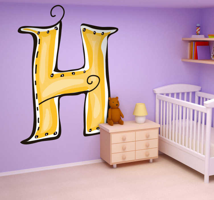 TenStickers. Letter H Sticker. Decorative sticker of the letter H. Does your child´s name start with H?  A brilliant decal to decorate your child´s room.