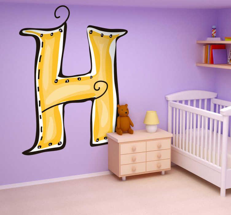 TenVinilo. Vinilo infantil dibujo letra h. Adhesivo de decoración infantil de las letras del abecedario. Letra H en color amarillo, adorna la pared de su habitación con la inicial de su nombre.