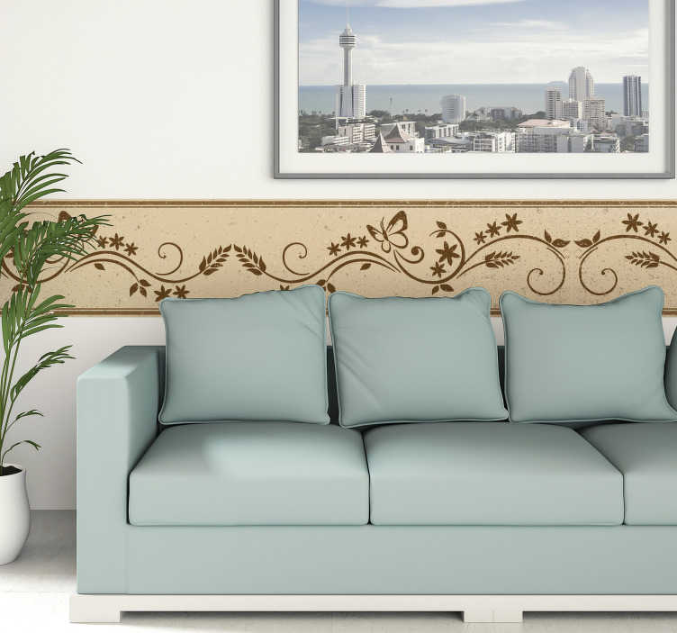 TenStickers. Wandtattoo Blumenranke mit Schmetterlingen. Dekoratives Wandtattoo einer eleganten Ranke mit Blumen und Schmetterlingen. Verzieren Sie mit diesem modernen Wandtattoo das Wohnzimmer.