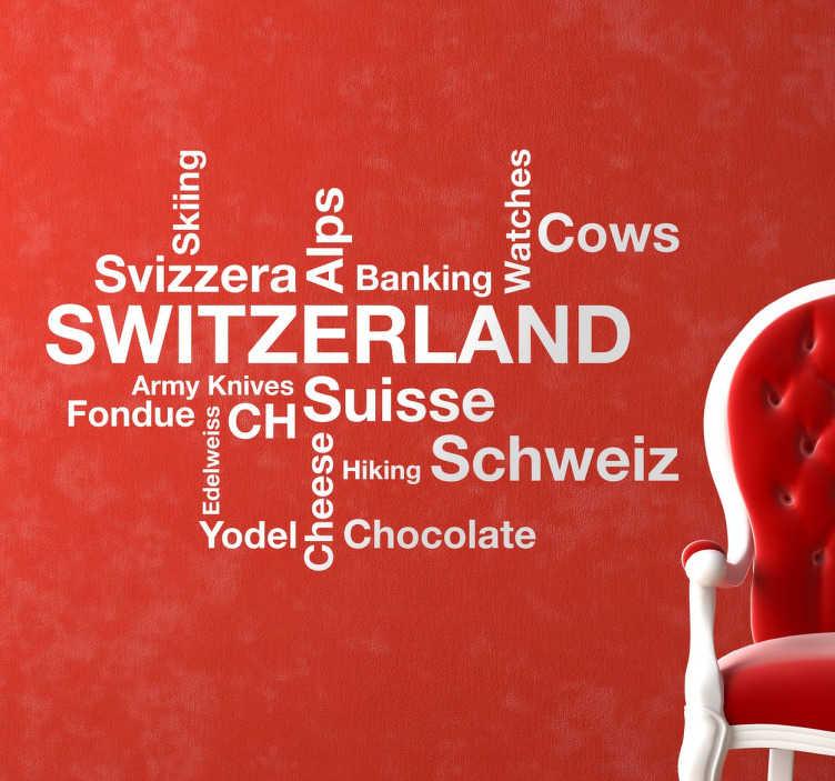 TenStickers. Sticker mural mots Suisse. Sticker mural représentant différents mots en anglais qui sont souvent associés à la Suisse : le chocolat, les Alpes, le ski.