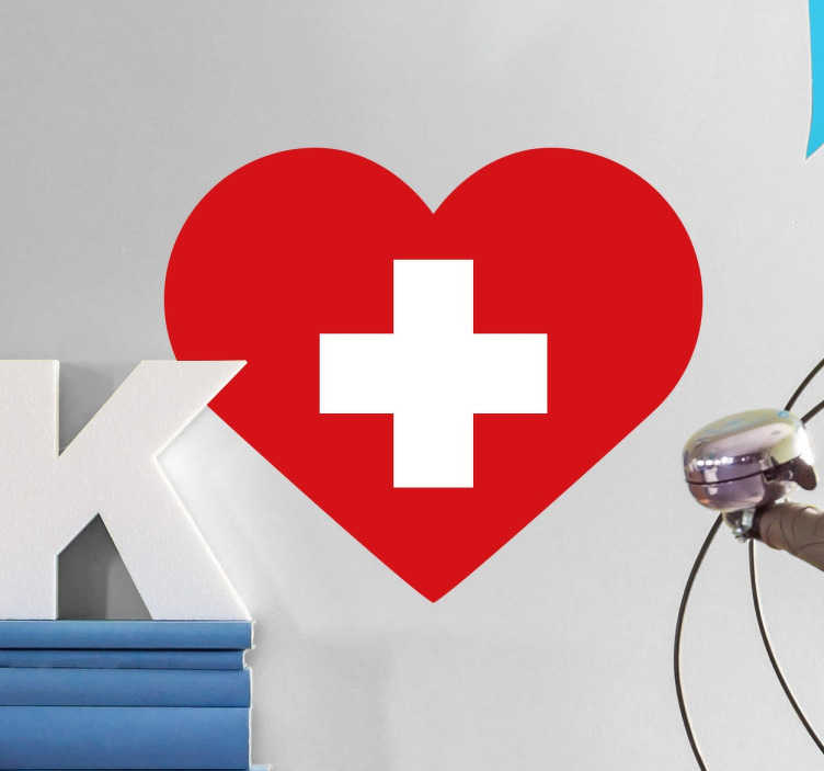 Sticker drapeau suisse en forme de coeur
