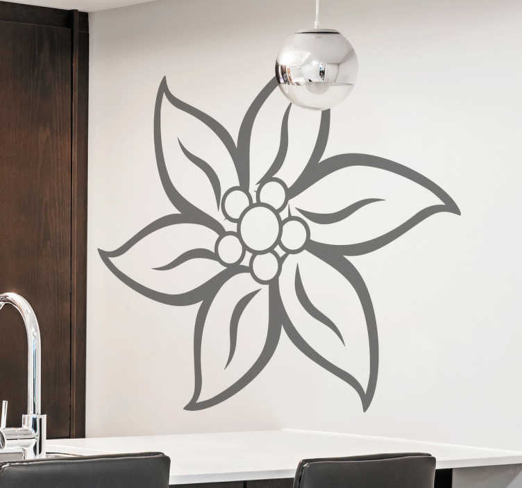 TenStickers. Edelweiss Flower Sticker. A beautiful floral wall sticker with a design of a Swiss Edelweiss flower to decorate any room in your home.