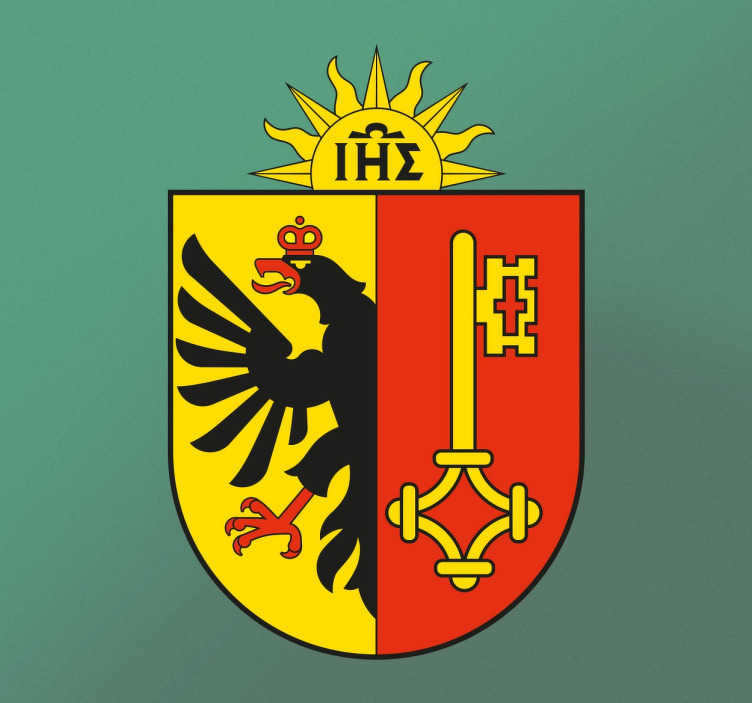TenStickers. Adesivo decorativo Ginevra. Questo adesivo murale rappresenta il Cantone di Ginevra. Sulla metà sinistra è raffigurata un'aquila nera con una corona rossa.