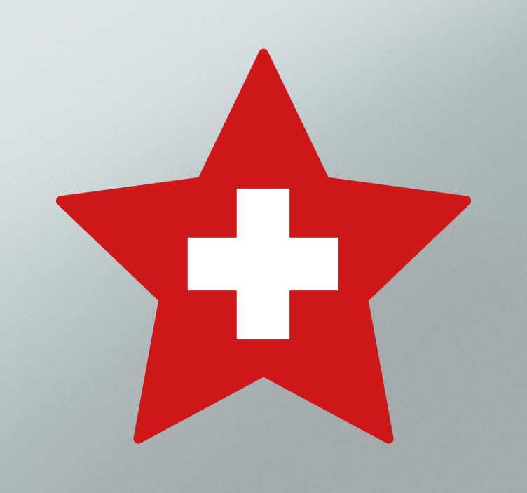 Adesivo bandiera della svizzera a forma di stella