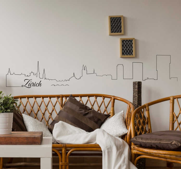 TenStickers. Zurich Skyline Wall Sticker. A beautiful wall sticker with the outline of Zurich's skyline. A simple and stylish design of this Swiss cities most recognised buildings.