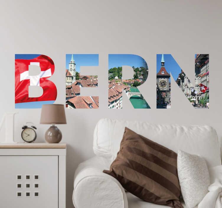 TenStickers. Wandtattoo Bern Buchstaben. Bern - die Hauptstadt der Schweiz. Mit dem Wandtattoo mit Fotos der bekannten Sehenswürdigkeiten Berns können Sie Ihre Wand zum Hingucker machen