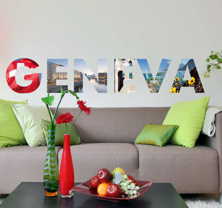 TenStickers. Geneva Photo Wall Mural Sticker. An impressive photo wall mural with a designed inspired by the Swiss city of Geneva.