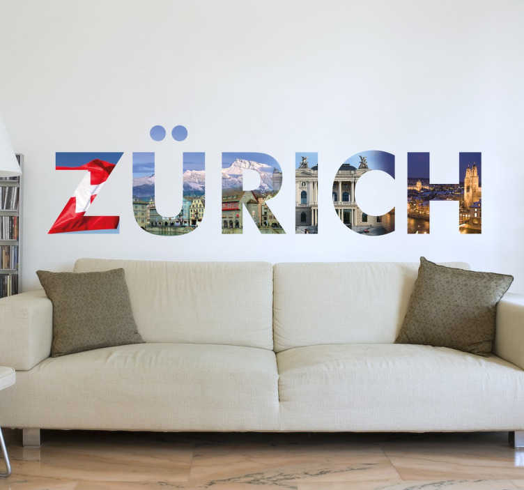 TenStickers. Wandtattoo Zürich Buchstaben. Zürich - die größte Stadt der Schweiz. Mit dem Wandtattoo mit Fotos der Sehenswürdigkeiten Zürichs können Sie Ihre Wand zum Hingucker machen.