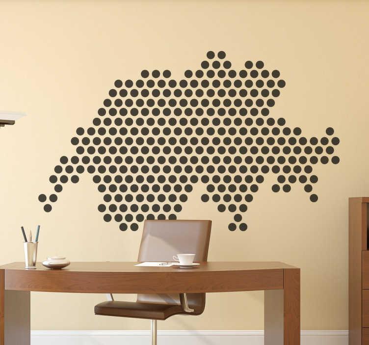 TenStickers. Wandtattoo Punkte Silhouette Schweiz. Dekorativer Aufkleber für Ihr Zuhause. Das Wandtattoo illustriert die Silhouette des Landes Schweiz mit einem Muster aus lauter Punkten.