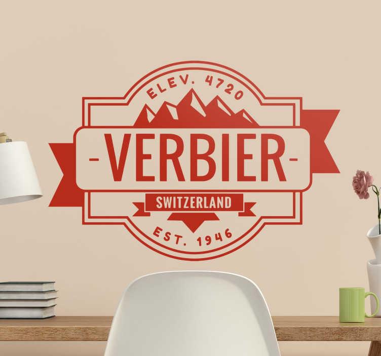 """TenStickers. Wandtattoo Verbier. Wandtattoo mit der Aufschrift """"Verbier"""". Ergänzt wird das ganze Design durch den englischen Namen des Landes Schweiz """"Switzerland""""."""