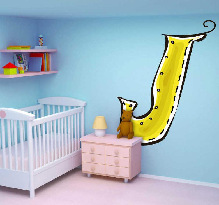TenStickers. Naklejka literka J. Naklejka dekoracyjna dla dzieci z kolekcji litery alfabetu. Obrazek przedstawia żółtą literę J oraz dostępna jest w różnych rozmiarach.