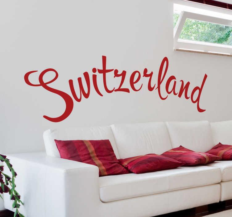 """TenStickers. Sticker Switzerland. Sticker décoratif sur lequel il est écrit """"Switzerland""""."""