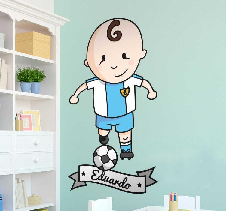 TenVinilo. Vinilo personalizable tenviniño futbolista. Pegatinas personalizadas nombre para los más pequeños jugadores de fútbol de la casa.