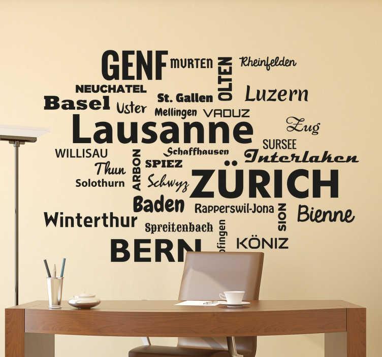 TenStickers. Adesivo nomi città Svizzera. Testo adesivo che contiene molti nomi di città svizzere, ideale per gli amanti di questo paese o semplicemente di viaggi.
