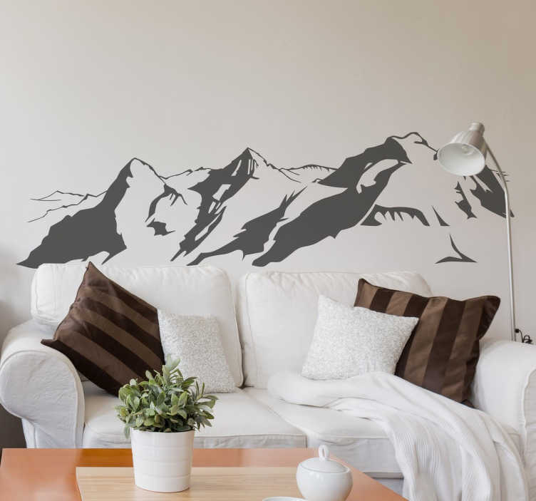 Swiss Alps Silhouette Decorative Wall Sticker TenStickers