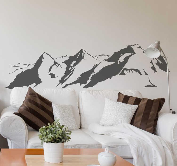 TenStickers. Wandtattoo Berge Landschaft. Wandtattoo der Alpen. Bringen Sie Ihre eigene Berglandschaft nach Hause und gestalten Sie Ihr Zuhause individuell und einzigartig.