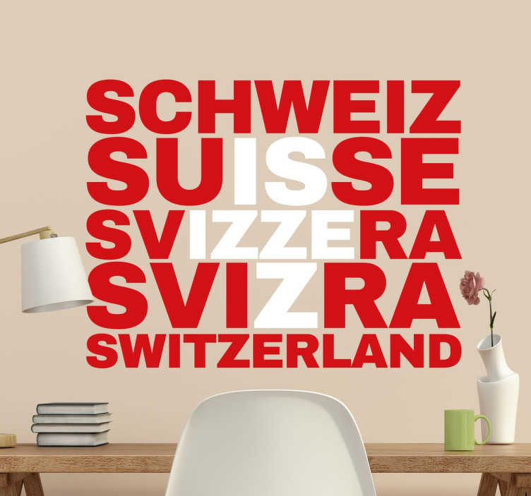 TenStickers. Wandtattoo Schweiz Buchstaben Flagge. Originelles Wandtattoo, das die rote Flagge mit dem weißen Kreuz mit den Namen der Schweiz in verschiedenen Sprachen darstellt.