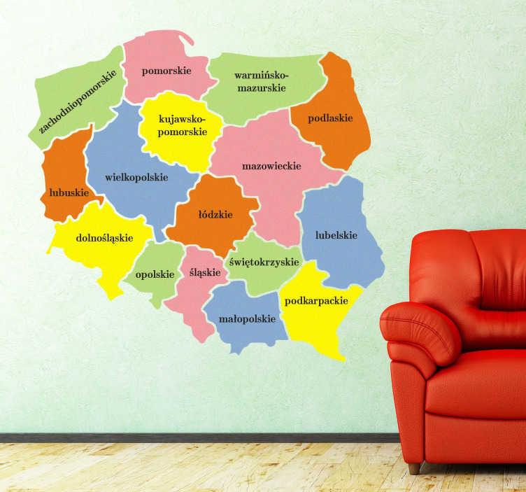 TenStickers. Naklejka Mapa Polski Województwa. Fantastyczna mapa Polski z zaznaczonym administracyjnym podziałem na województwa. Idealna do pokoju dziecka i nastolatka.