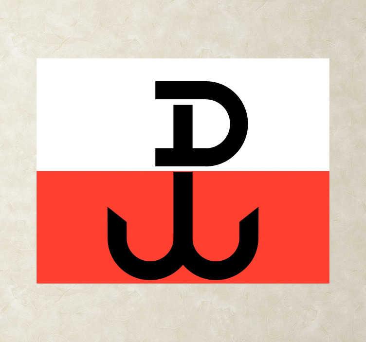 TenStickers. Naklejka Polska Walcząca Flaga. Fantastyczna naklejka na ścianę przedstawiająca flagę Polski wraz ze znakiem Polska Walcząca z czasów drugiej wojny światowej.