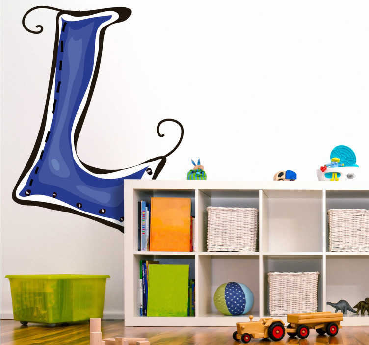TenVinilo. Vinilo infantil dibujo letra l. Adhesivo decorativo infantil. Letra L en color azul para decorar la habitación de tu recién nacido o de su hermano mayor con la inicial de su nombre.