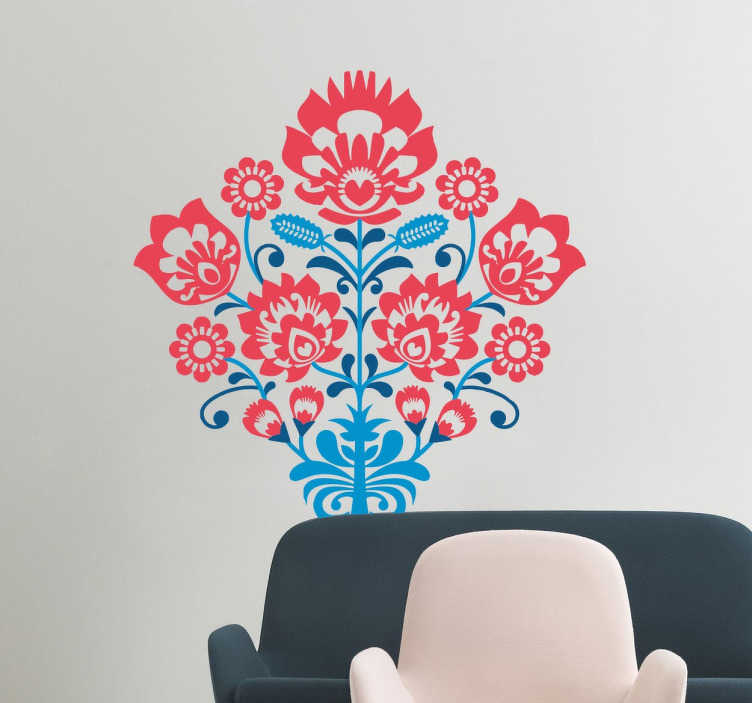 TenStickers. Tri-Colour Flower Sticker. A beautifully ornate wall sticker with a symmetrical floral design in three different colours.