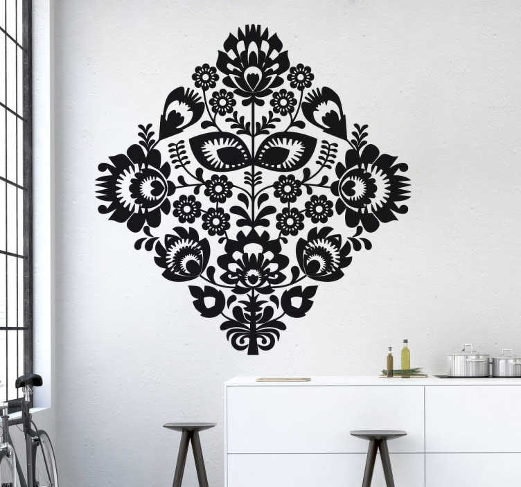 Ornate Floral Pattern Wall Sticker