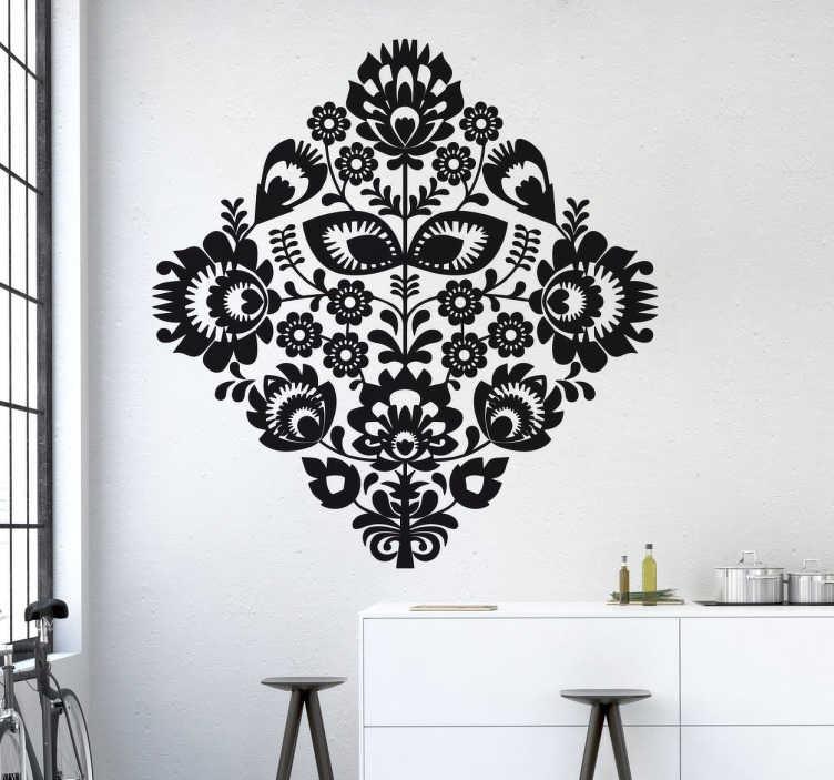 TENSTICKERS. 華やかな花柄の壁のステッカー. 花と植物のステッカーのコレクションから、あなたの家を飾るのに理想的な花柄の美しく対称的なデザイン。
