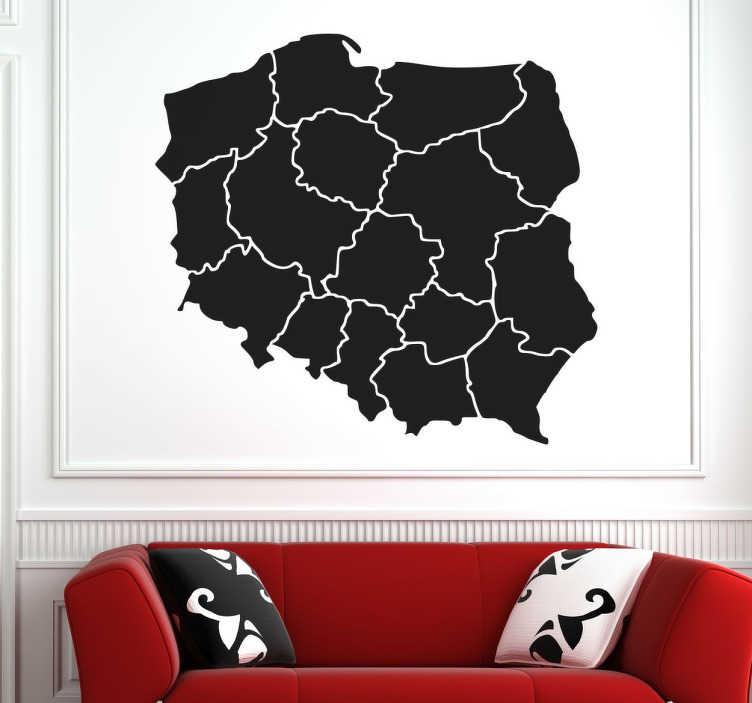 TenVinilo. Vinilo mapa fronteras polonia. Vinilo adhesivo para decorar tu hogar formado por el mapa de Polonia con el relieve del sus 16 ciudades. Envío Express en 24/48h