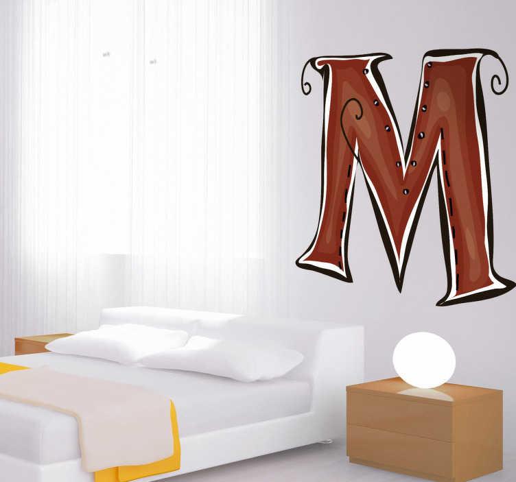 TenStickers. Vinil decorativo ilustração letra M. Vinil decorativo das letras do abecedário, com ilustração da letra M em cor vermelha. Precisa de um sticker com a inicial do seu nome?