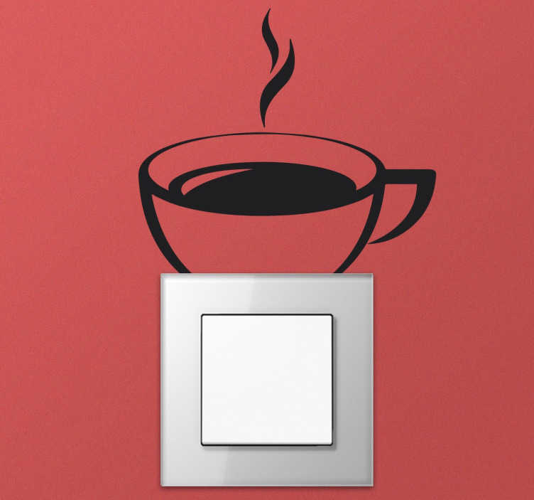 TenStickers. Coffee Cup Light Switch Sticker. This light switch wall sticker has been specifically designed to brighten up and personalise the light switches and plug sockets in your home! Perfect kitchen decor available in 50 different colours.